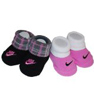 Nike Booties Girl Boy Baby Infant 3-6 Months NEW Pattern Black and Pink Sock 2 PCS One Set New