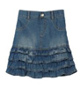 Amy Byer Girls Denim Skirt With Undershort Denim Blue