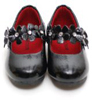 L'Amour Toddler Girls Black Patent Shoes with Jeweled Flowers